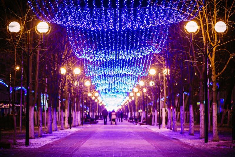 在街道上的欢乐照明在戈梅利 新年度 库存照片