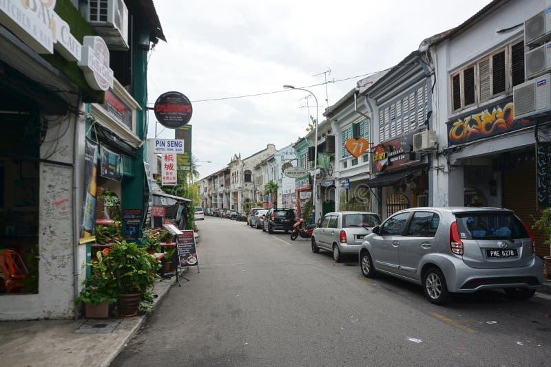 在街道上的老shophouse大厦在世界遗产格奥尔 免版税库存照片