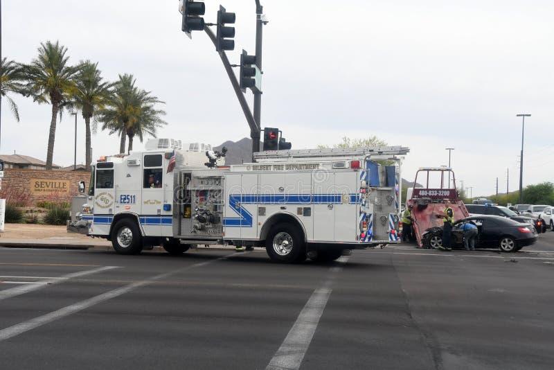 在街道上的车祸事故 图库摄影
