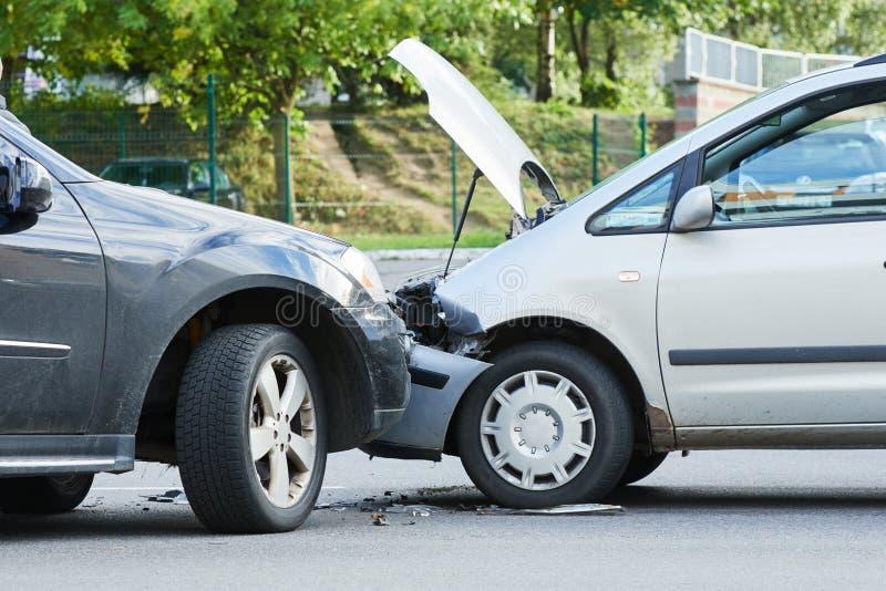 在街道上的车祸事故 免版税库存图片