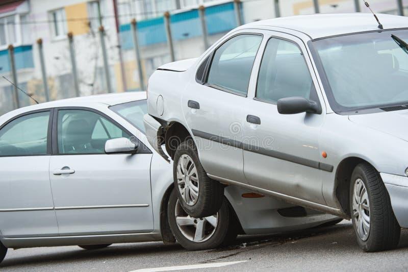在街道上的车祸事故 免版税图库摄影