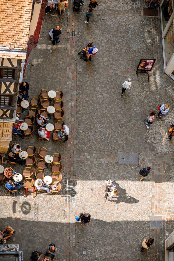 在街道上的顶视图在鲁昂 免版税图库摄影