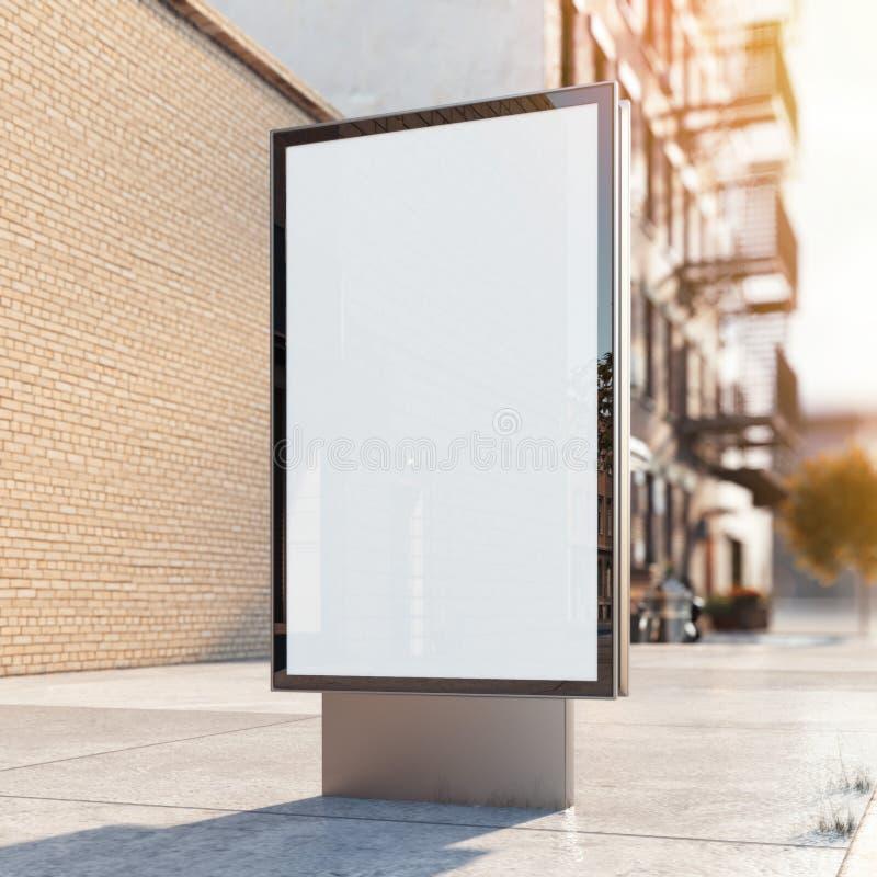 在街道上的黑广告立场 3d翻译 皇族释放例证