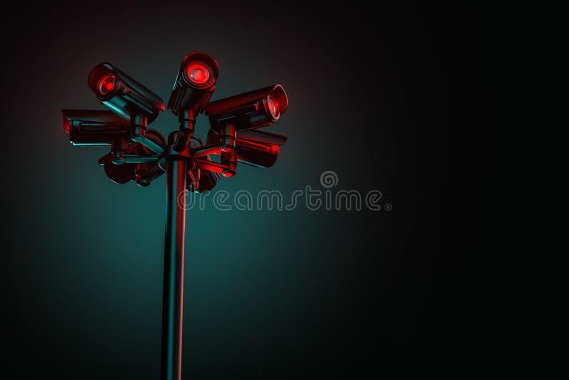在街道定向塔的七部cctv安全监控相机与在右边的拷贝空间 服务并且服从社会概念 3d?? 皇族释放例证