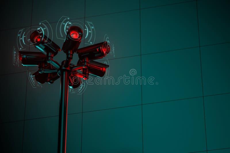 在街道定向塔的七部cctv安全监控相机与在右边的拷贝空间 3d?? 向量例证