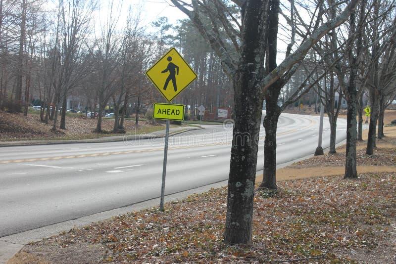 在街道树的标志秋天 库存图片