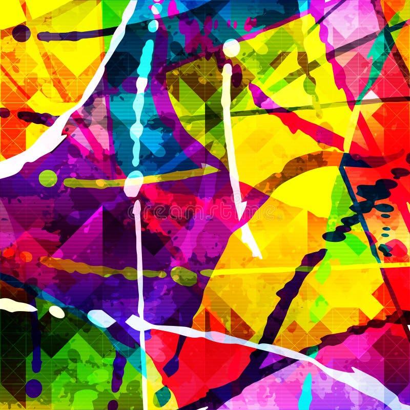 在街道画样式的几何抽象颜色样式 质量您的设计的传染媒介例证 皇族释放例证
