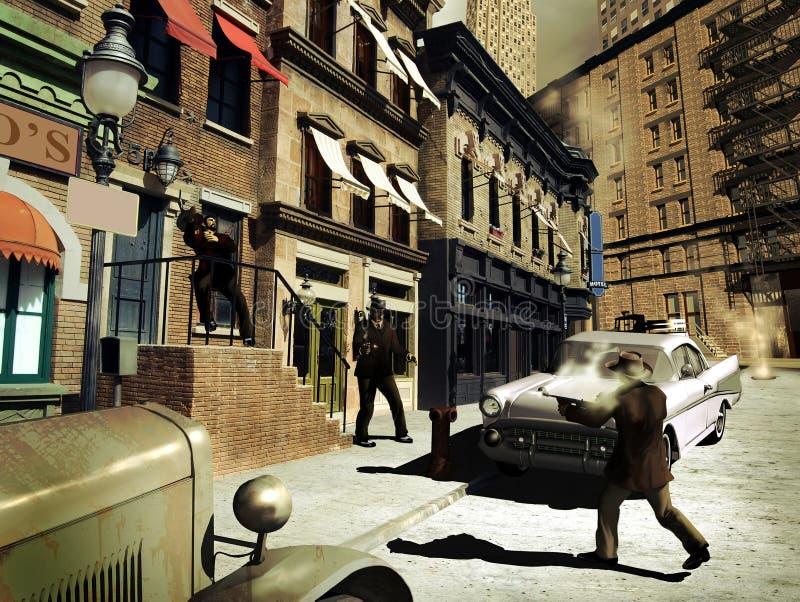 在街道的枪响 库存例证