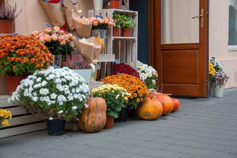 在街道的花店在秋天 库存图片