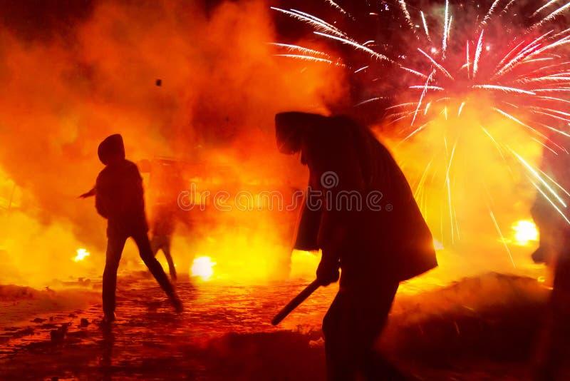 在街道Grushevskogo上的消防 免版税库存图片