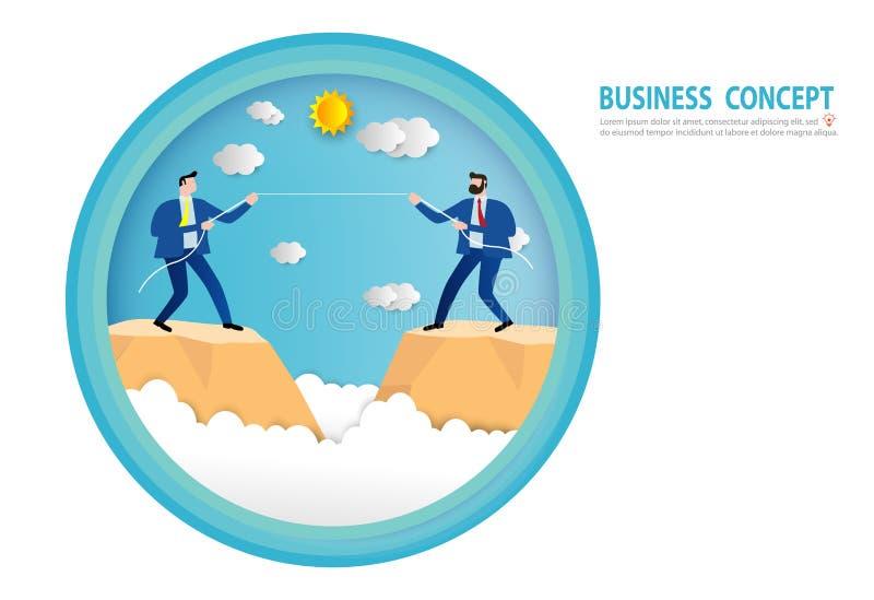 在衣服牵索的商人在峭壁边缘  竞争冲突竞争,目标,成功,纸艺术样式,人事务 库存例证