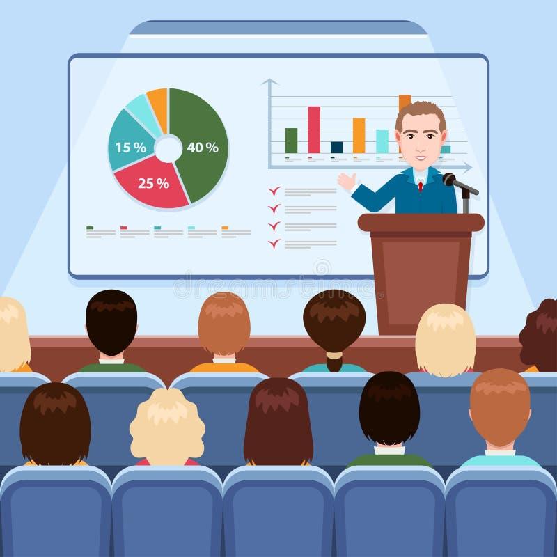 在衣服的做介绍在船上解释图观众的在会场里,企业研讨会的商人和领带, 库存例证