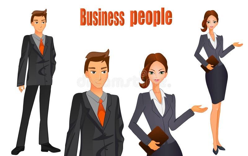 在衣服的商人和有棕色头发的女商人 橙色关系 在白色的传染媒介例证 库存例证