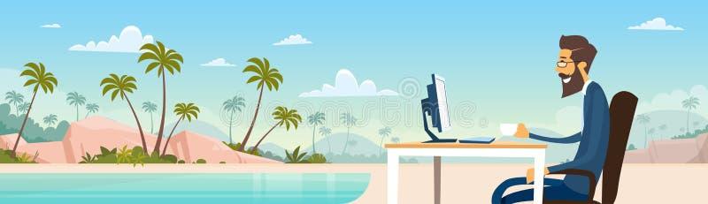 在衣服的商人自由职业者的远程工作地方商人坐桌面海滩暑假热带海岛 向量例证