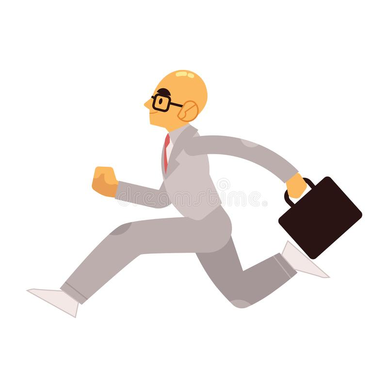 在衣服的微笑的商人与今后运行的公文包 向量例证