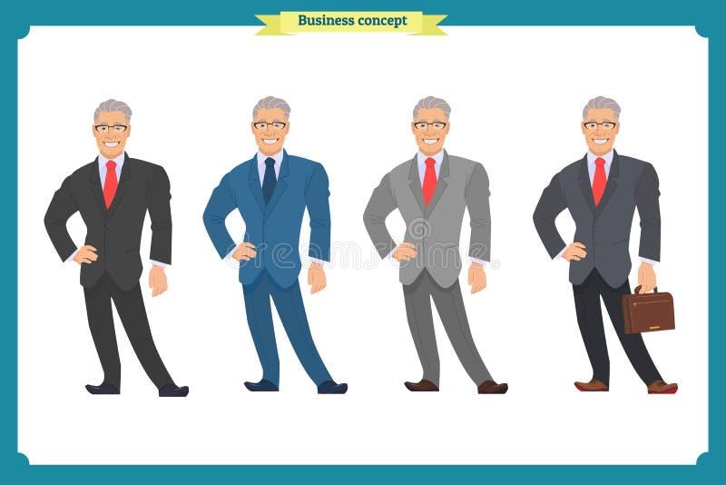 在衣服的愉快的典雅的商人 常设人 在白色的背景商业查出的人 向量例证