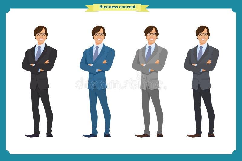 在衣服的愉快的典雅的商人 常设人 在白色的背景商业查出的人 库存例证