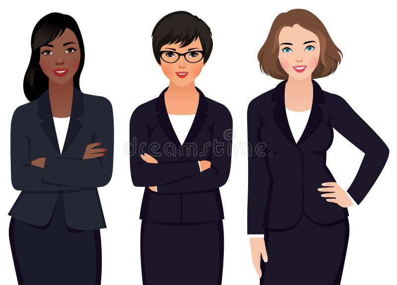 在衣服的队多种族妇女商人 库存例证