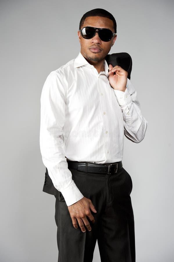 在衣服的非裔美国人的男性 免版税库存图片