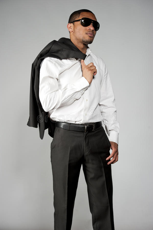 在衣服的非裔美国人的男性 库存照片
