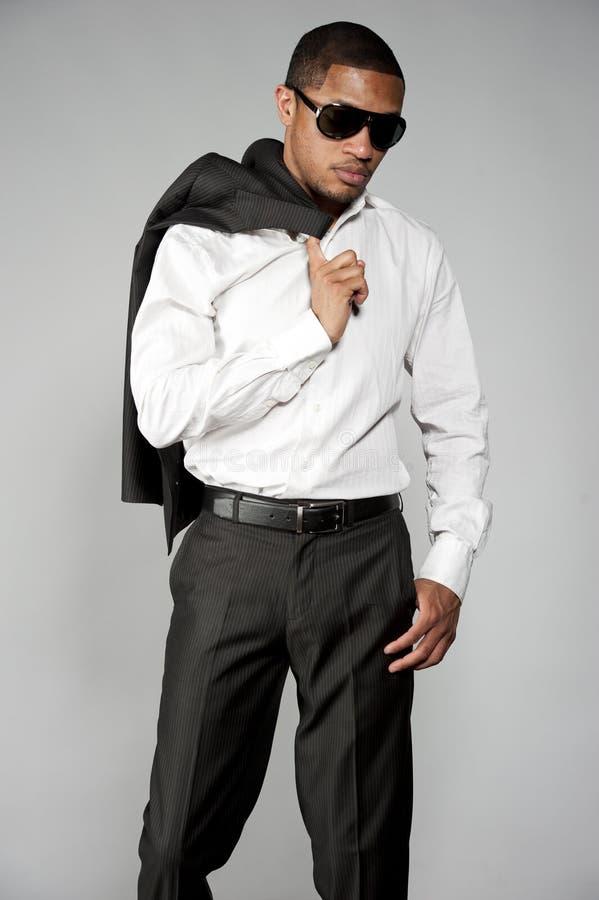 在衣服的非裔美国人的男性 图库摄影