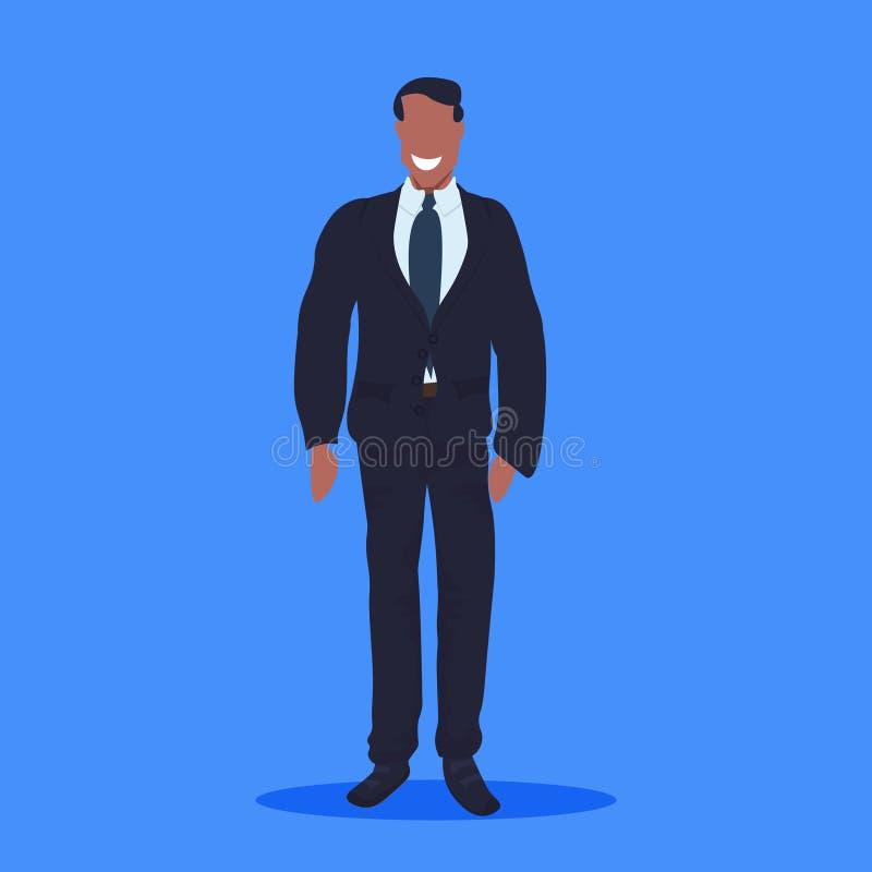 在衣服身分姿势非裔美国人的商人办公室工作者公卡通人物充分的lengt的愉快的商人 库存例证