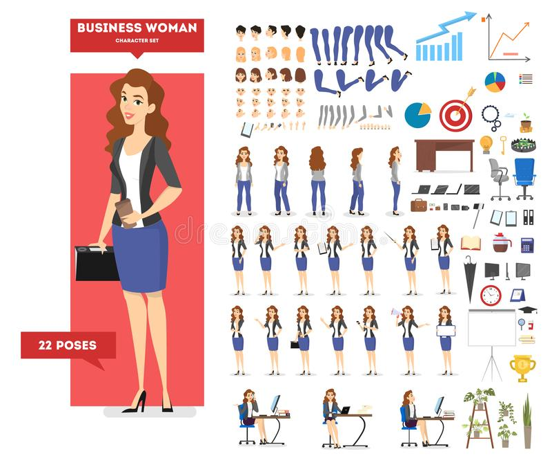 在衣服集合的女实业家字符动画的 皇族释放例证