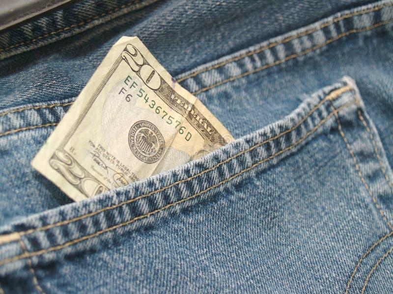 在衣裳的失去的金钱 库存图片