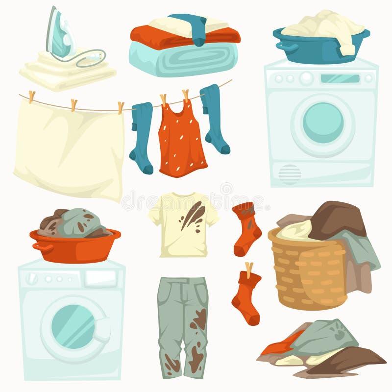 在衣裳的肮脏和干净的洗衣店洗衣机和铁污点 向量例证