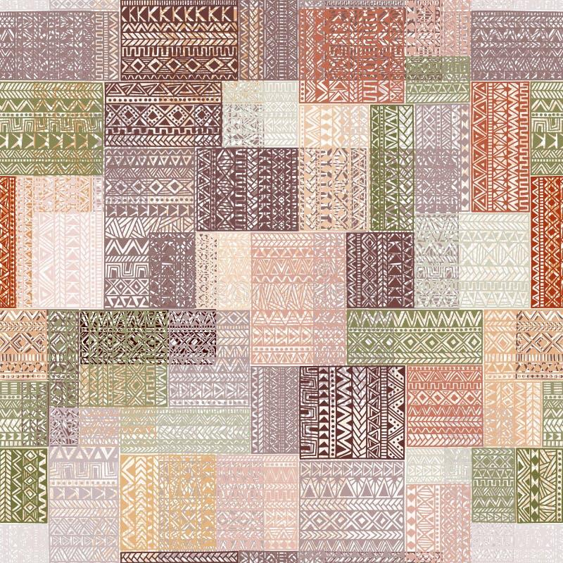 在补缀品样式的无缝的样式 多彩多姿的方形的patche 皇族释放例证