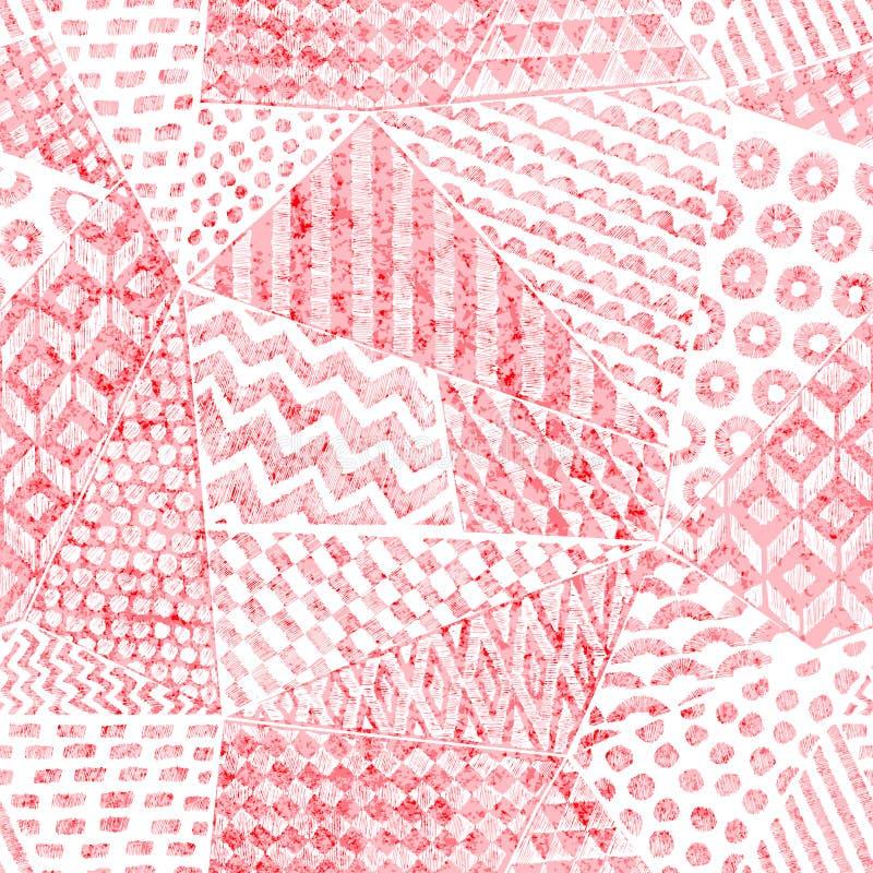 在补缀品样式的无缝的样式 纺织品的桃红色和白色葡萄酒印刷品 难看的东西背景,葡萄酒纹理 ? 皇族释放例证