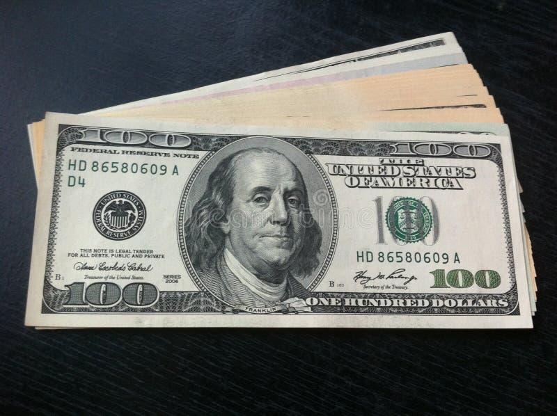 在表的货币 库存图片
