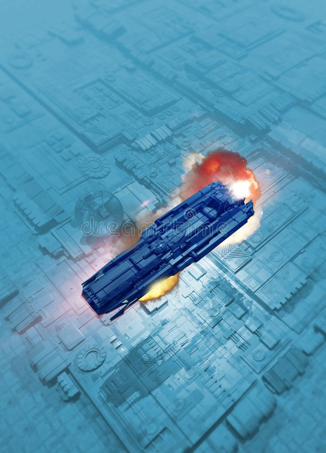 在表面的太空飞船 免版税库存照片