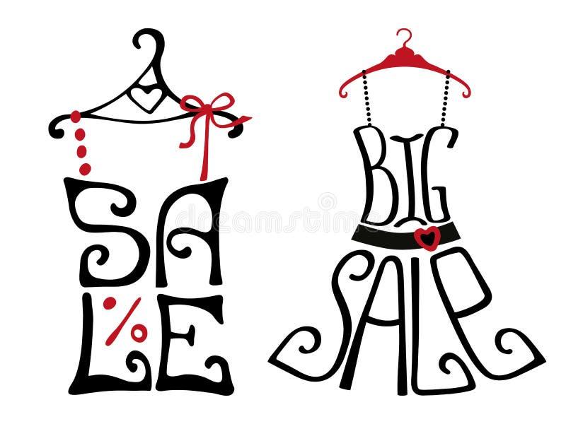 在衬衣和礼服形状的销售字法 库存例证