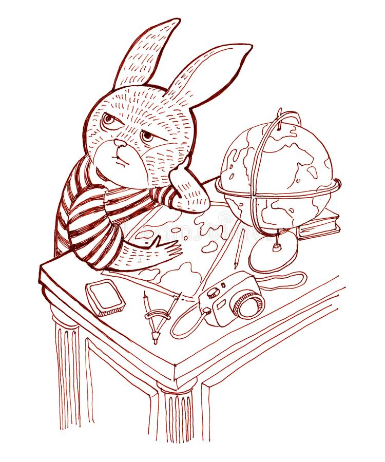 在衬衣的兔子坐在桌上并且考虑tr 向量例证