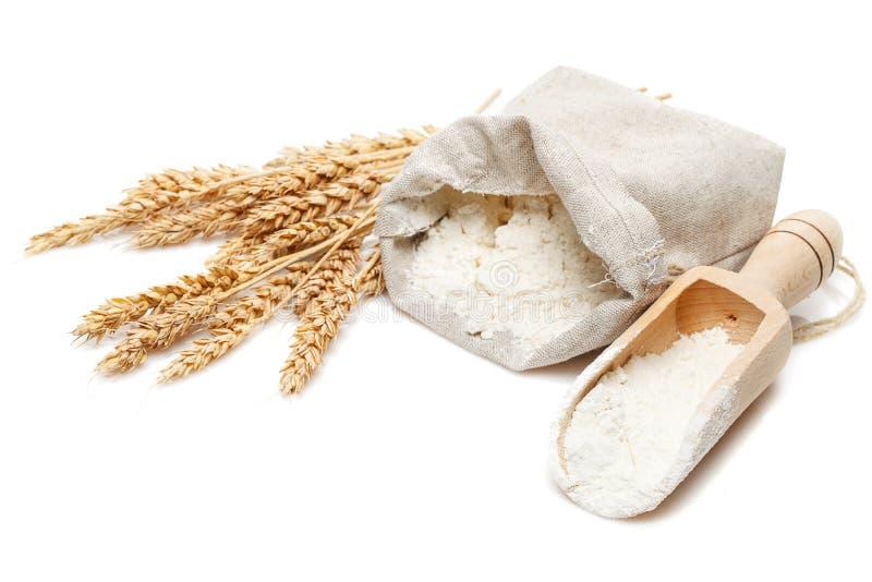 在袋子和瓢的麦子 图库摄影