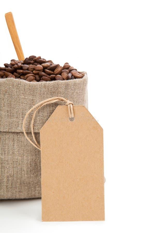 在袋子和纸盒标签的咖啡 免版税库存图片