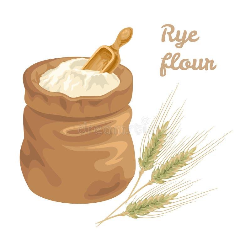 在袋子的黑麦面粉与一个被测量的木谷物的瓢和耳朵 库存例证