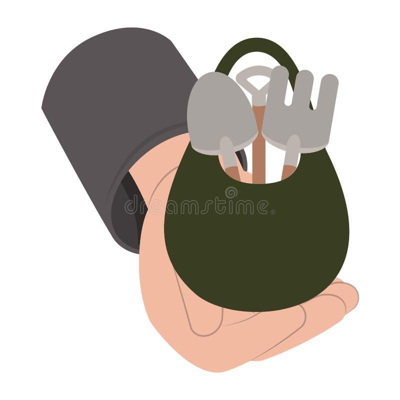 在袋子被隔绝的象的园艺工具 库存例证