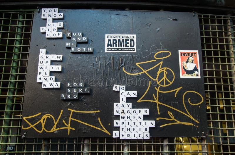 在袜商车道墨尔本的街道艺术 免版税库存照片