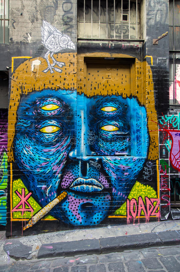 在袜商车道墨尔本的街道艺术 图库摄影
