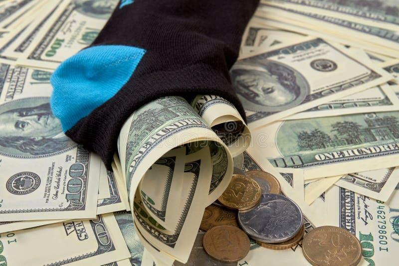 在袜子的金钱,关闭 库存图片