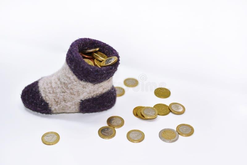 在袜子的金钱 免版税库存照片