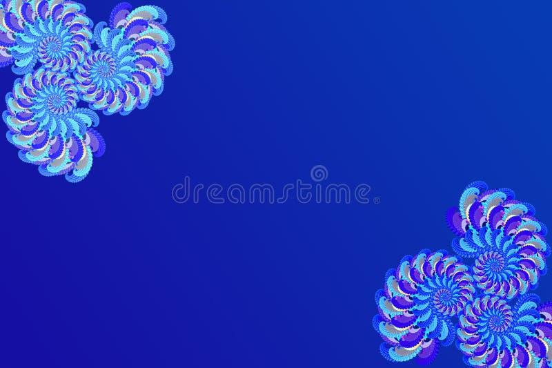 在被仿造的分数维元素蓝色背景,现代时髦的幻想屏幕保护程序,写的纹理的抽象3D图象 皇族释放例证