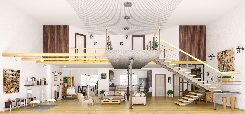 在被切开的3d的现代顶楼公寓内部回报 皇族释放例证
