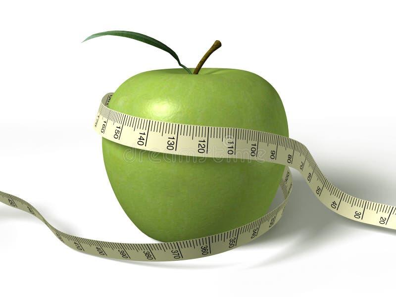 在被包裹的绿色评定磁带附近的苹果 库存例证