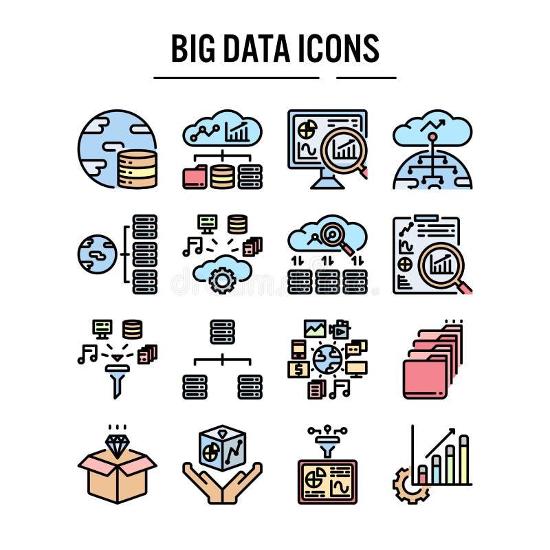 在被填装的概述设计网络设计的,infographic,介绍,流动应用-传染媒介例证的大数据象 皇族释放例证