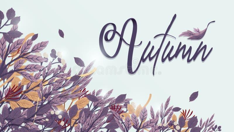 在被定调子的紫色和褐色的秋叶背景 单图样式 库存例证