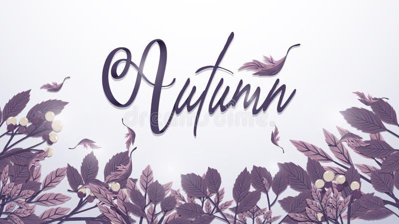 在被定调子的紫色的秋叶背景 单图样式 向量例证