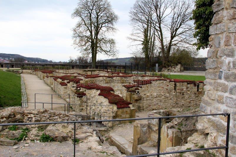 在被建立的结构的更加接近的看法从sparrenburg观看了在比勒费尔德德国 免版税库存图片